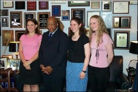 students with congressman john lewis