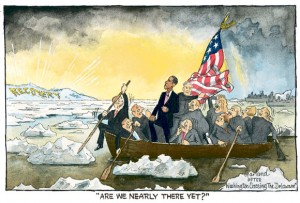 President Obama pictured crossing the Delaware in a parody of The Battle Of Trenton