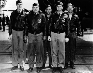 Crew No. 13 (Plane #40-2247, target Yokosuka): 37th Bombardment Squadron, front row: Lt. Edgar E. McElroy, pilot; and Lt. Richard A. Knobloch, copilot; back row: Lt. Clayton J. Campbell, navigator; Master Sgt. Robert C. Bourgeois, bombardier; and Sgt. Adam R. Williams, flight engineer/gunner. Image: Pacific Air Forces.