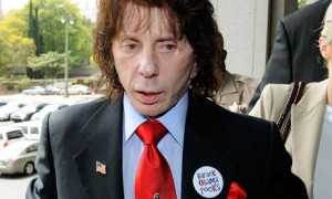 Phil Spector wearing an Obama button