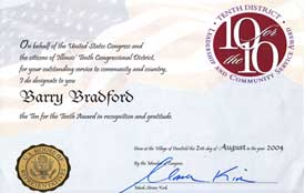 congressional award given to Barry Bradford by Congressman Kirk